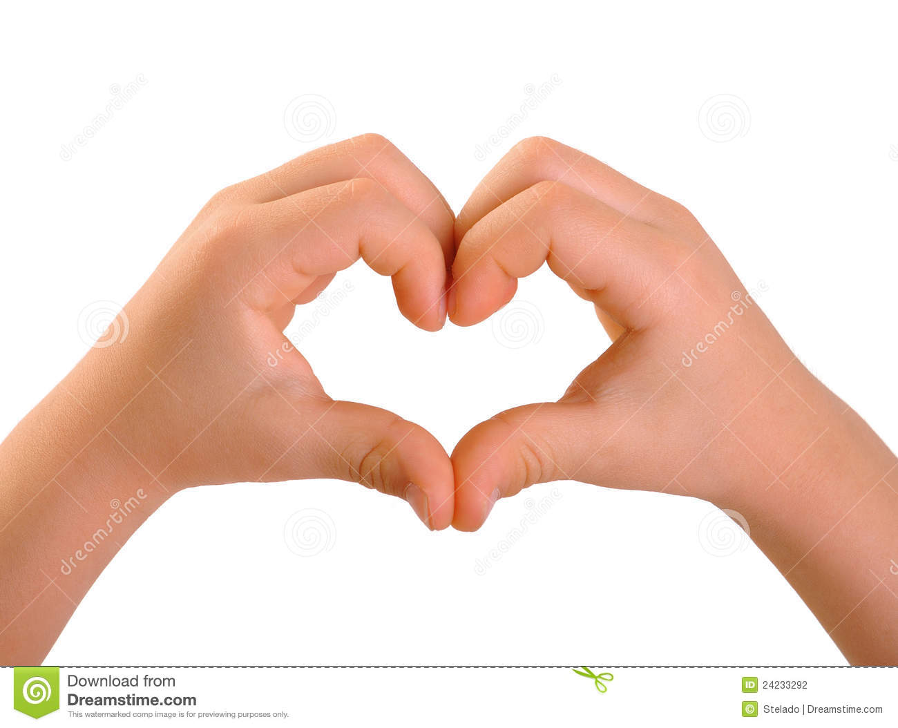 children s hands in a heart shape stock photo   image