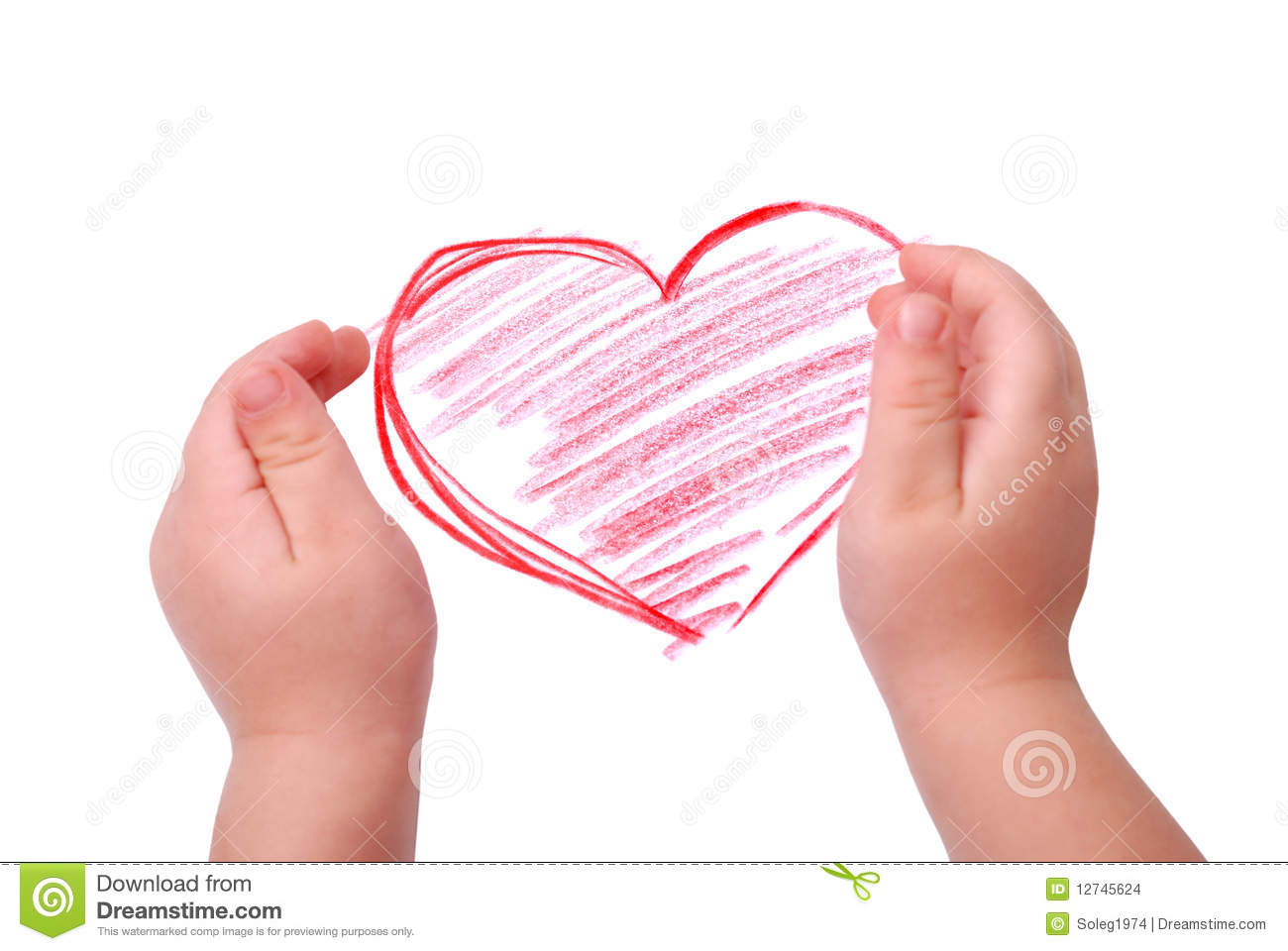 The children s hands is located in heart drawing