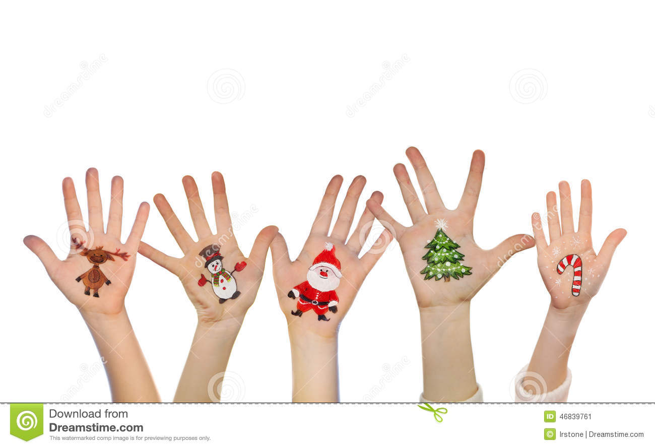 Children's Hands Raising Up With Painted Christmas Symbols
