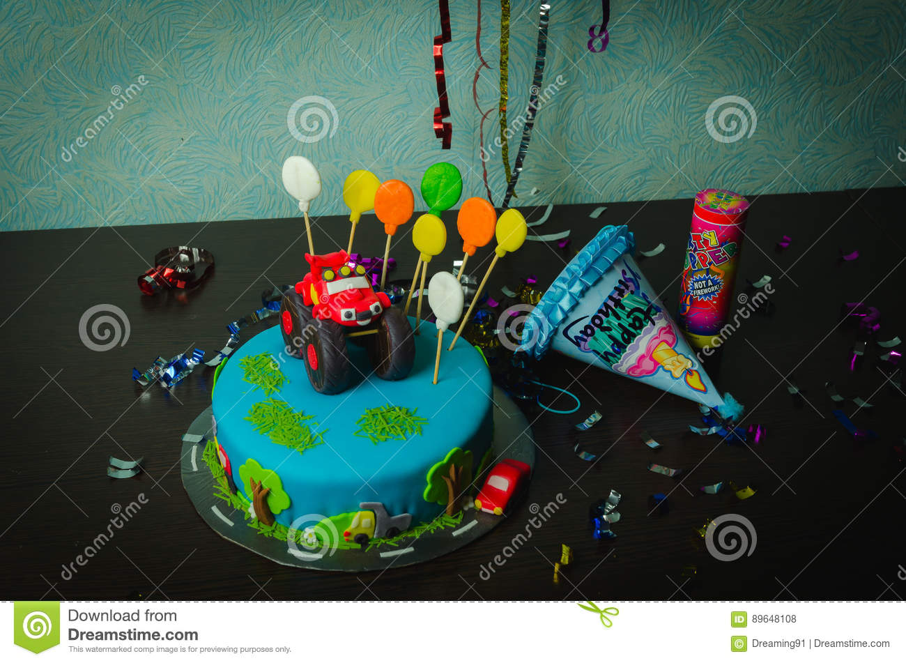 Childrens Happy Birthday Cake Decorated Car Stock Photo Image Of