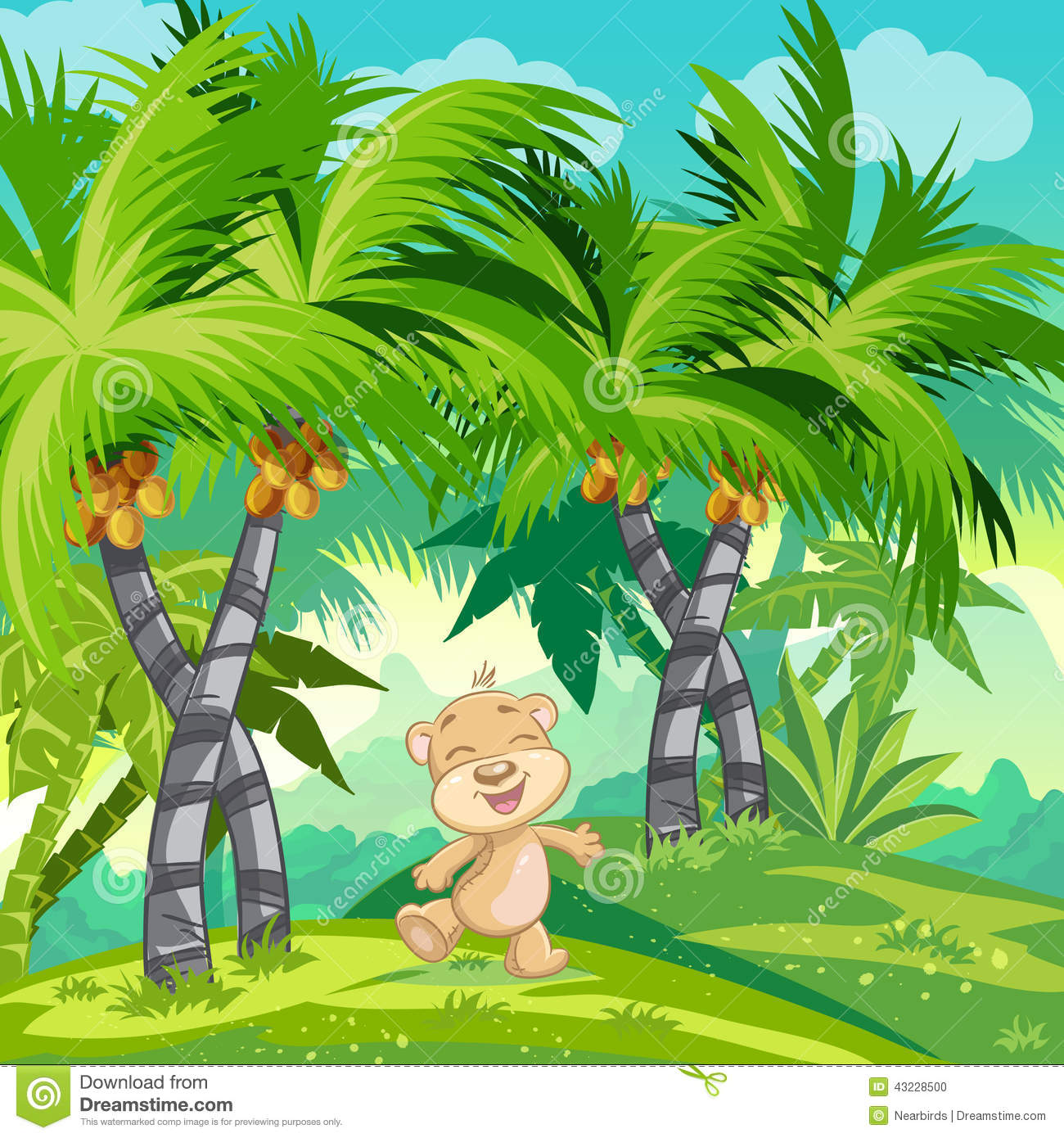 Children s illustration with a happy teddy bear in the jungle