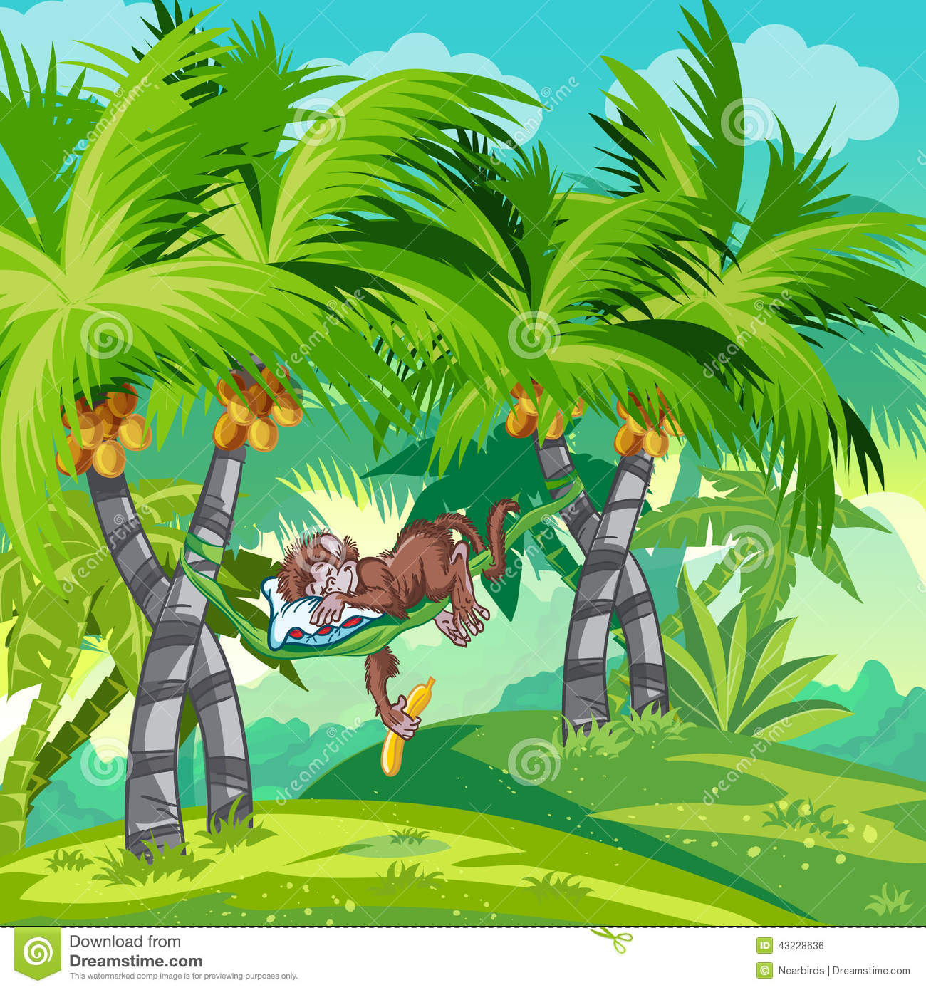 Children S Illustration Of The Jungle With A Sleeping