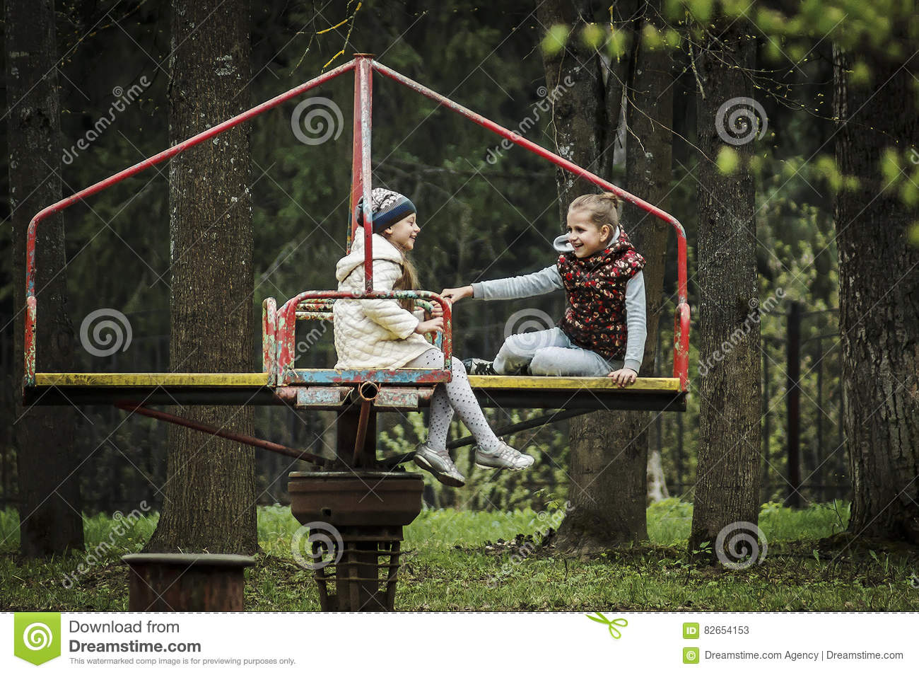 Download Children`s Joy On The Carousel. Editorial Stock Photo - Image of park, childrens: 82654153