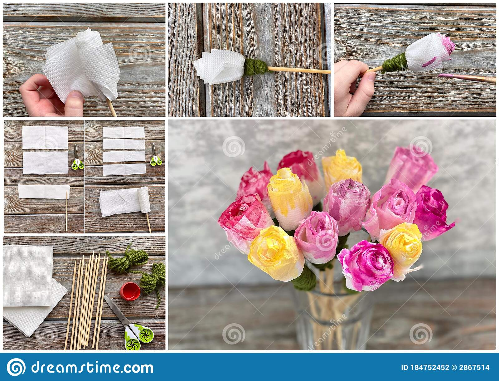 Process Step By Step How To Make Child Craft Rose From A Paper Napkin Stock Photo Image Of Springtime Collage 184752452