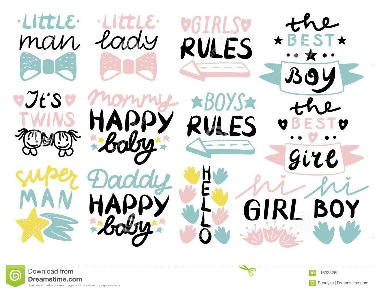13 Children S Logo With Handwriting Little Man,lady, Girls, Boys