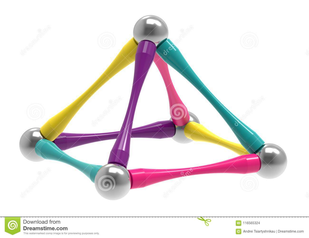 Children`s magnetic toy in the form of a piramid, 3D rendering.