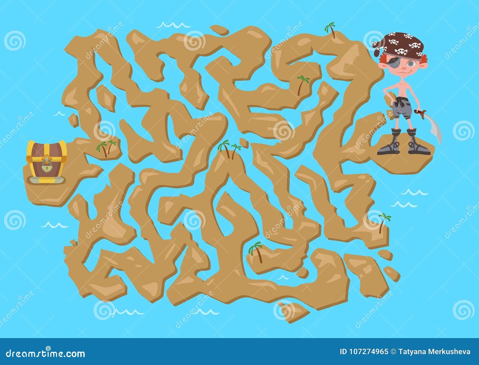 Children\'s Treasure Map Children`s Maze. Pirate Treasure Map. Puzzle Game For Kids, Stock