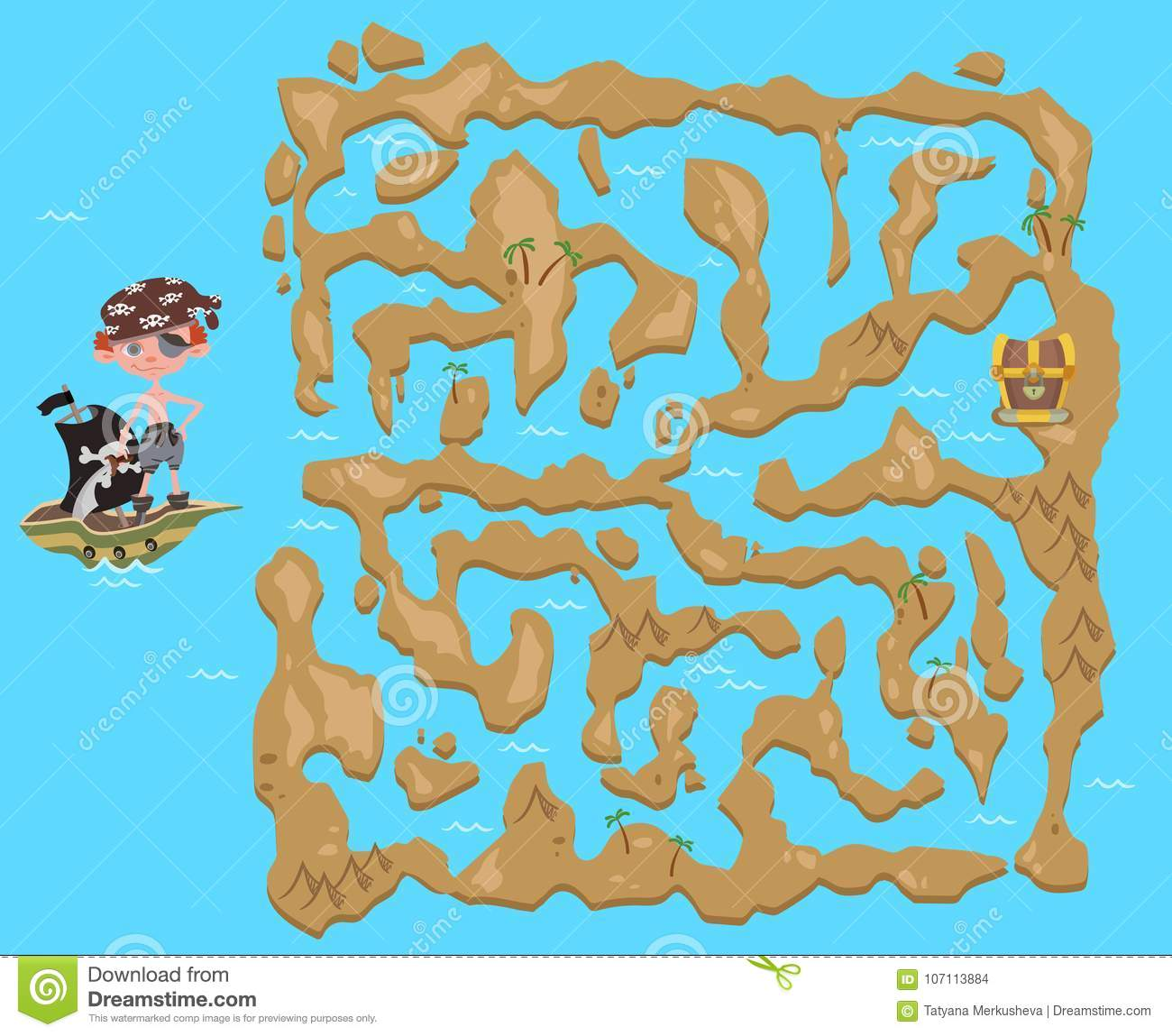 Children\'s Treasure Map Children`s Maze. Pirate Treasure Map. Puzzle Game For Kids, Vector