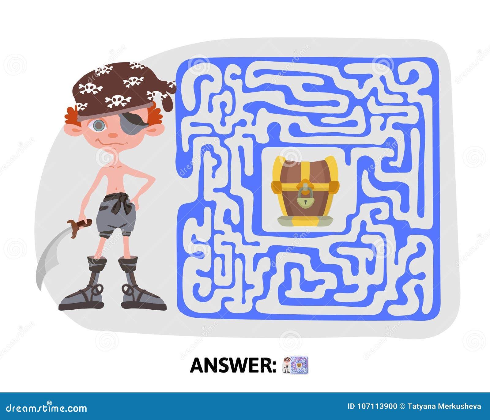 Children\'s Treasure Map Children`s Maze. Pirate Treasure Map. Puzzle Game For Kids, Vector