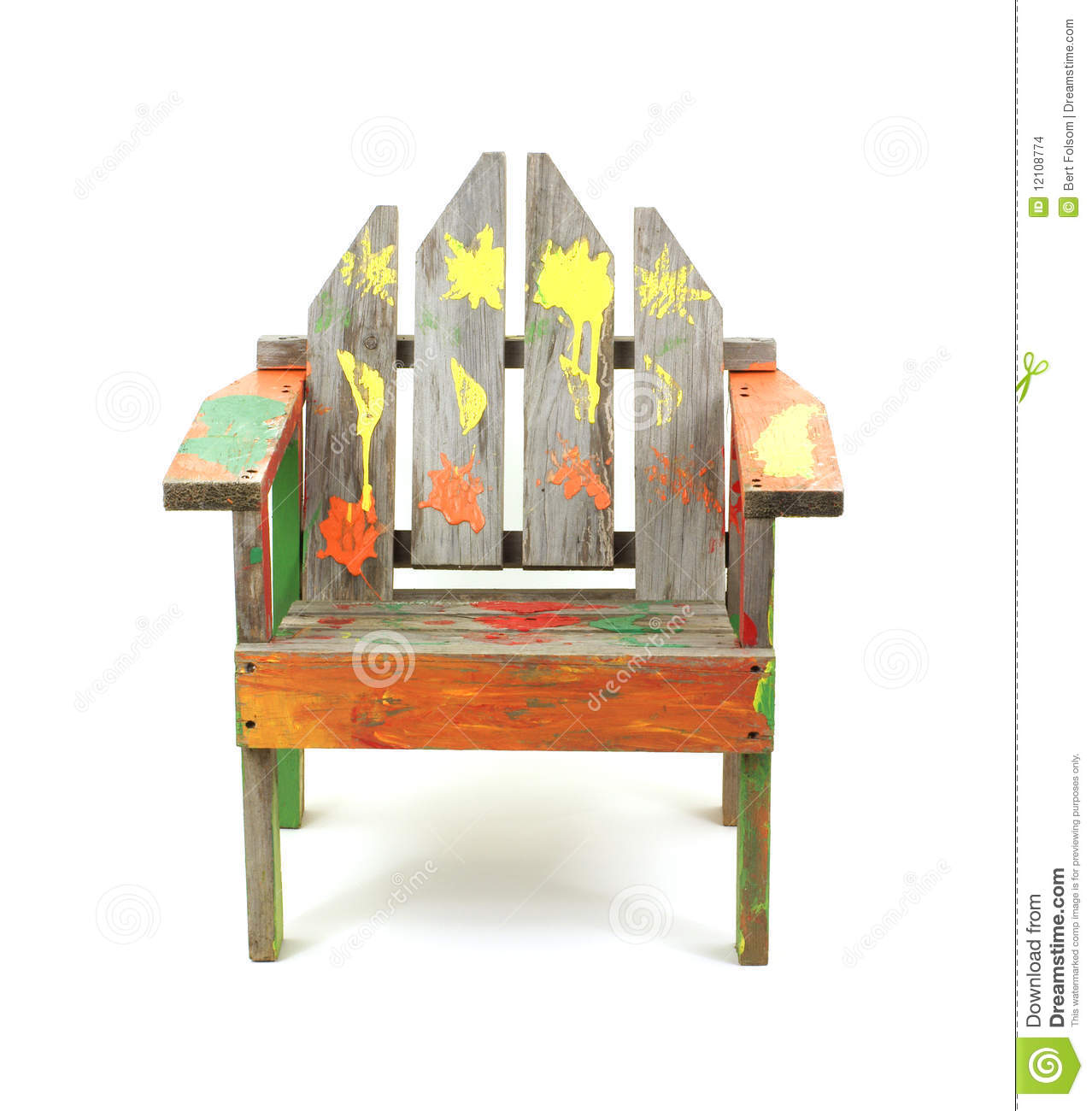 Children S Old Painted Lawn Chair Stock Photo Image Of Small Size 12108774