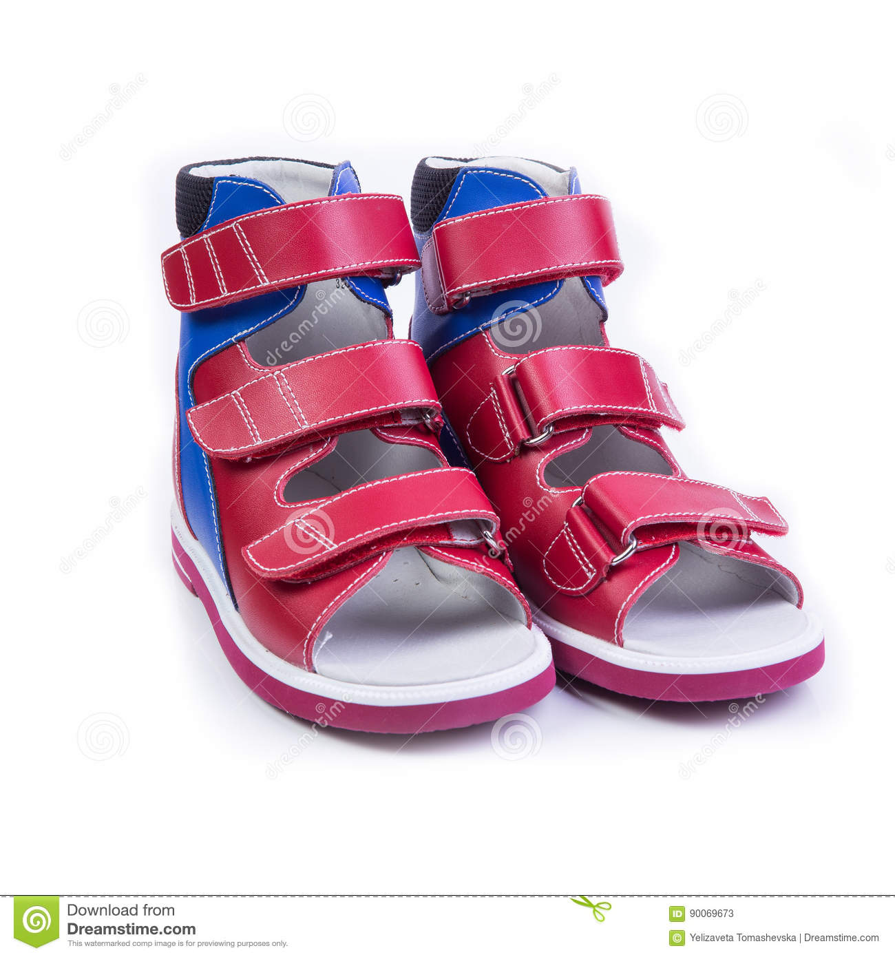 Children`s Orthopedic Shoes On A White Background Stock ...