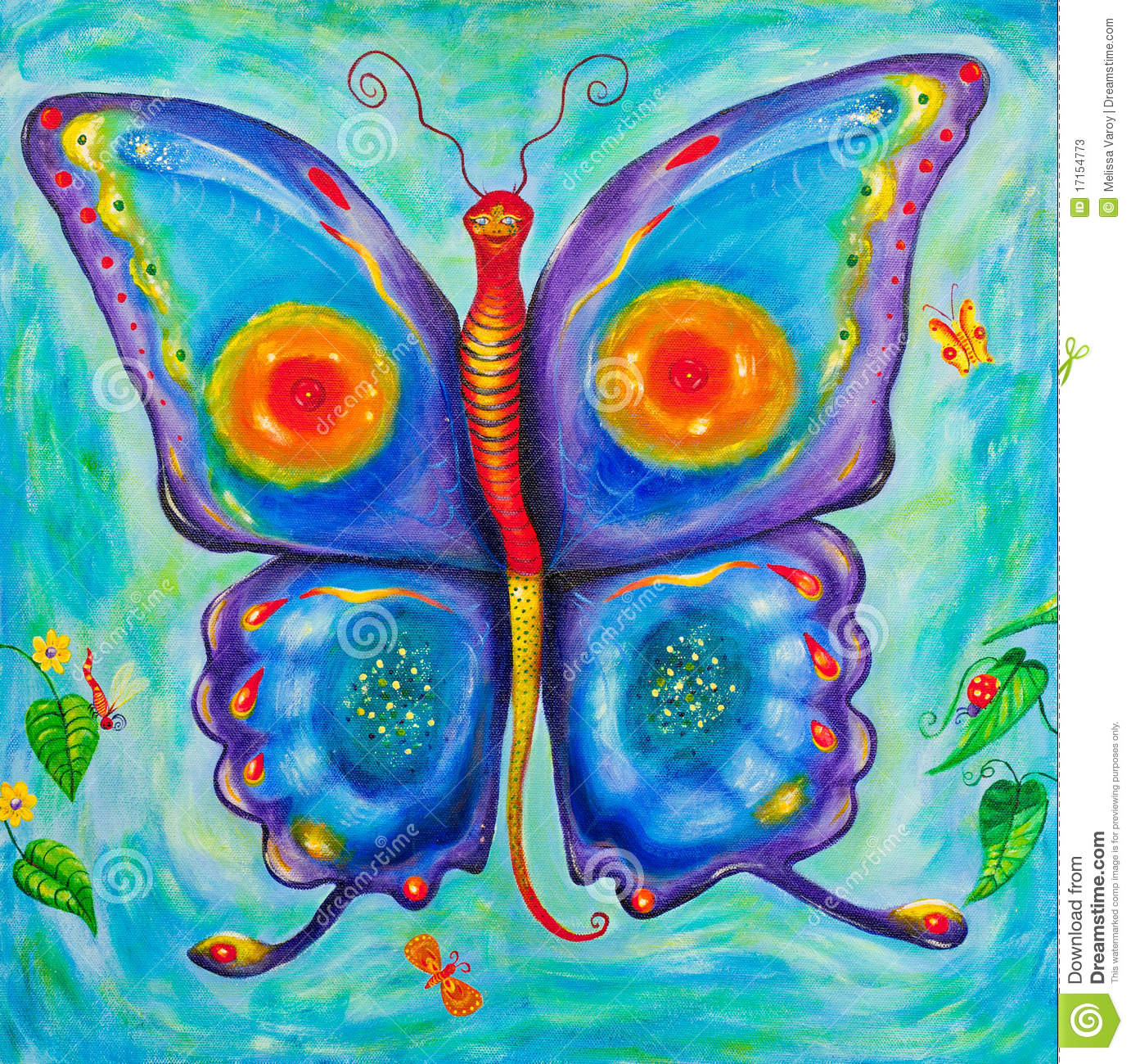 children u0027s painting of a colourful butterfly stock photos image