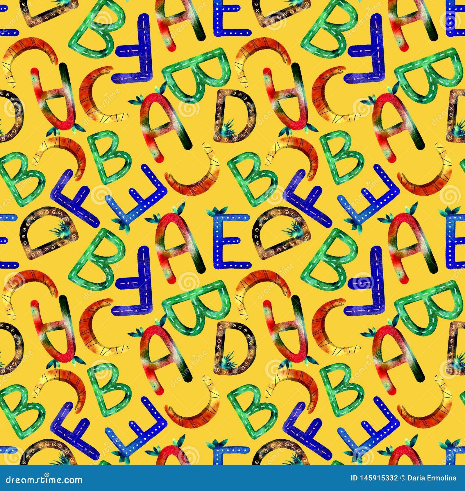 Children`s pattern English alphabet