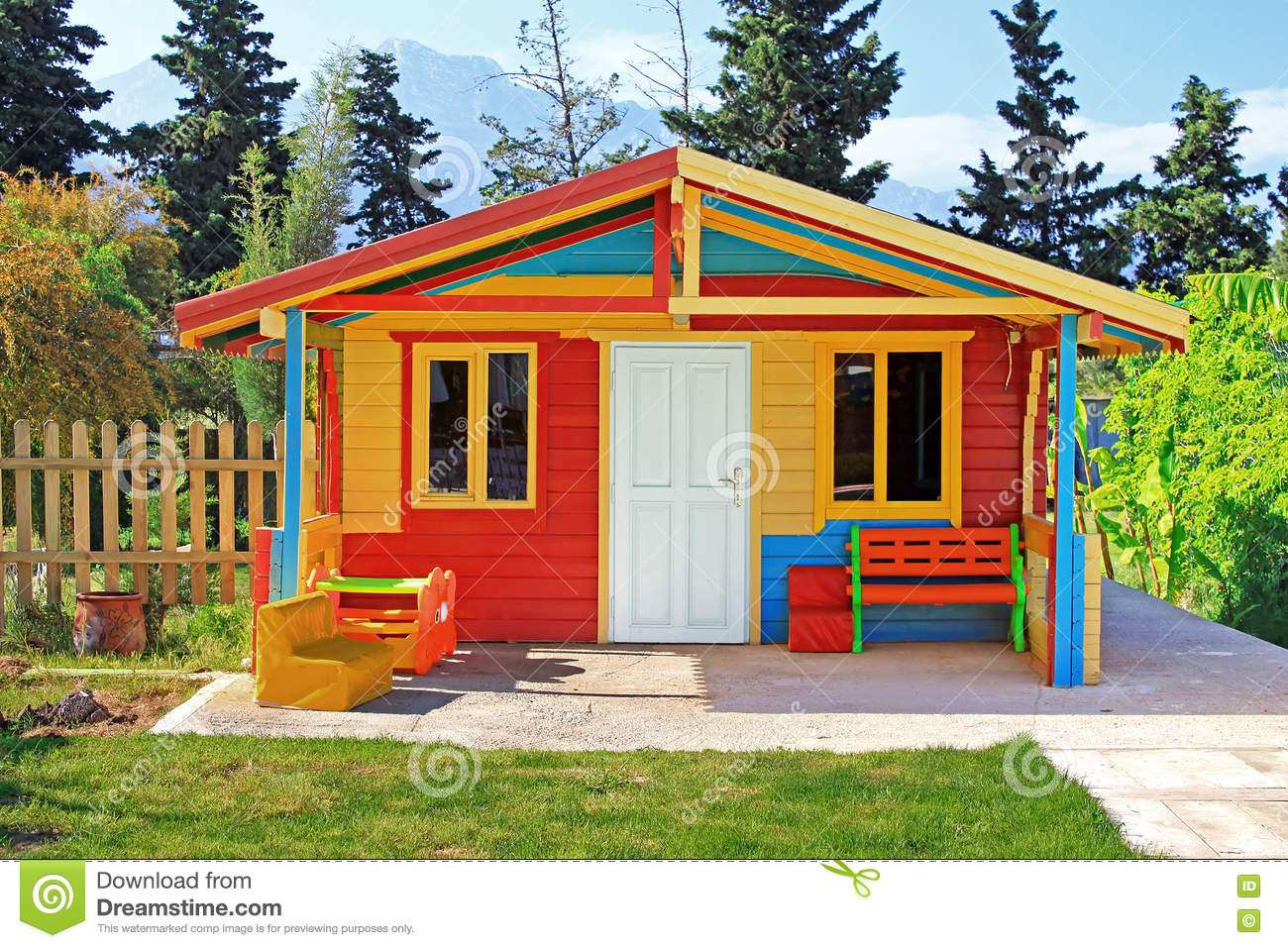 Childrens Play House In A Yard Stock Photo Image Of Roof Blue