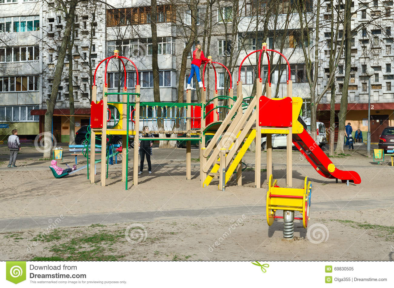 Apartment Building Courtyard children's playground in courtyard of apartment building, gomel