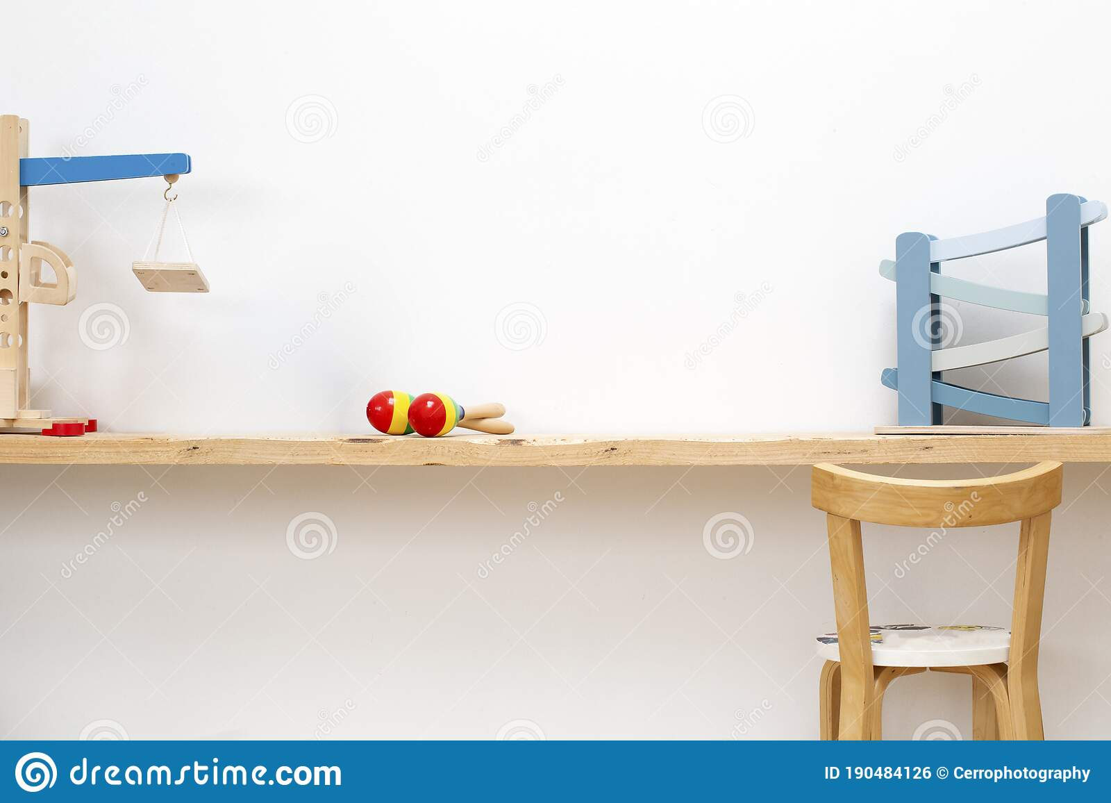 Children S Playroom With Wooden Table And Child Chair And Some Toys Modern Scandinavian Style Stock Photo Image Of Cozy Table 190484126