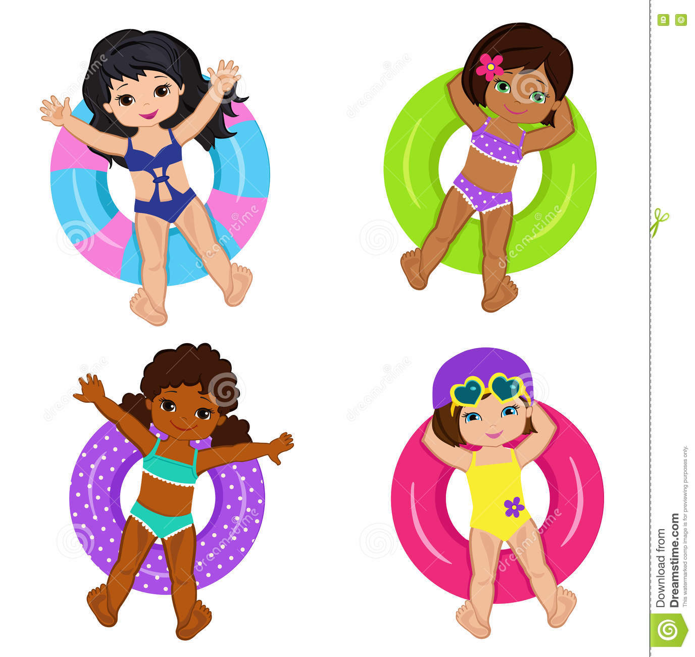 Children's Pool Party On Background. Stock Vector - Image: 71366667