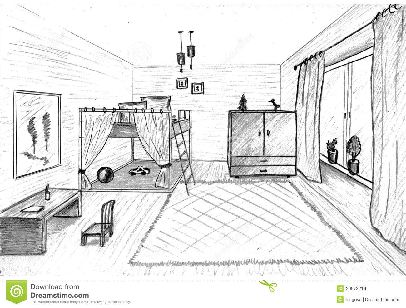 Children's Room Graphical Sketch Stock Illustration