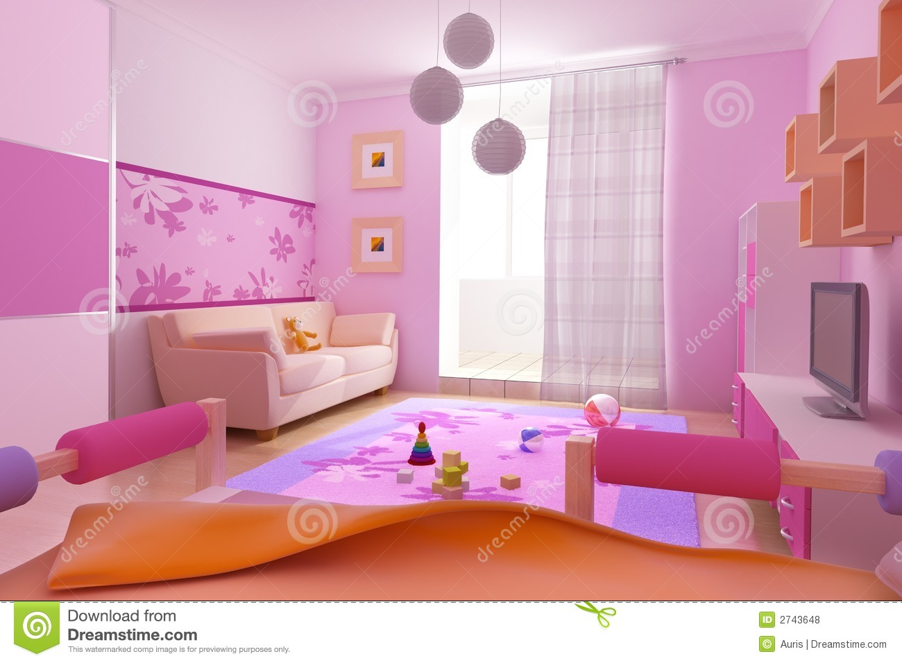 Children 39 s room interior stock illustration image of loft Best color for kids room