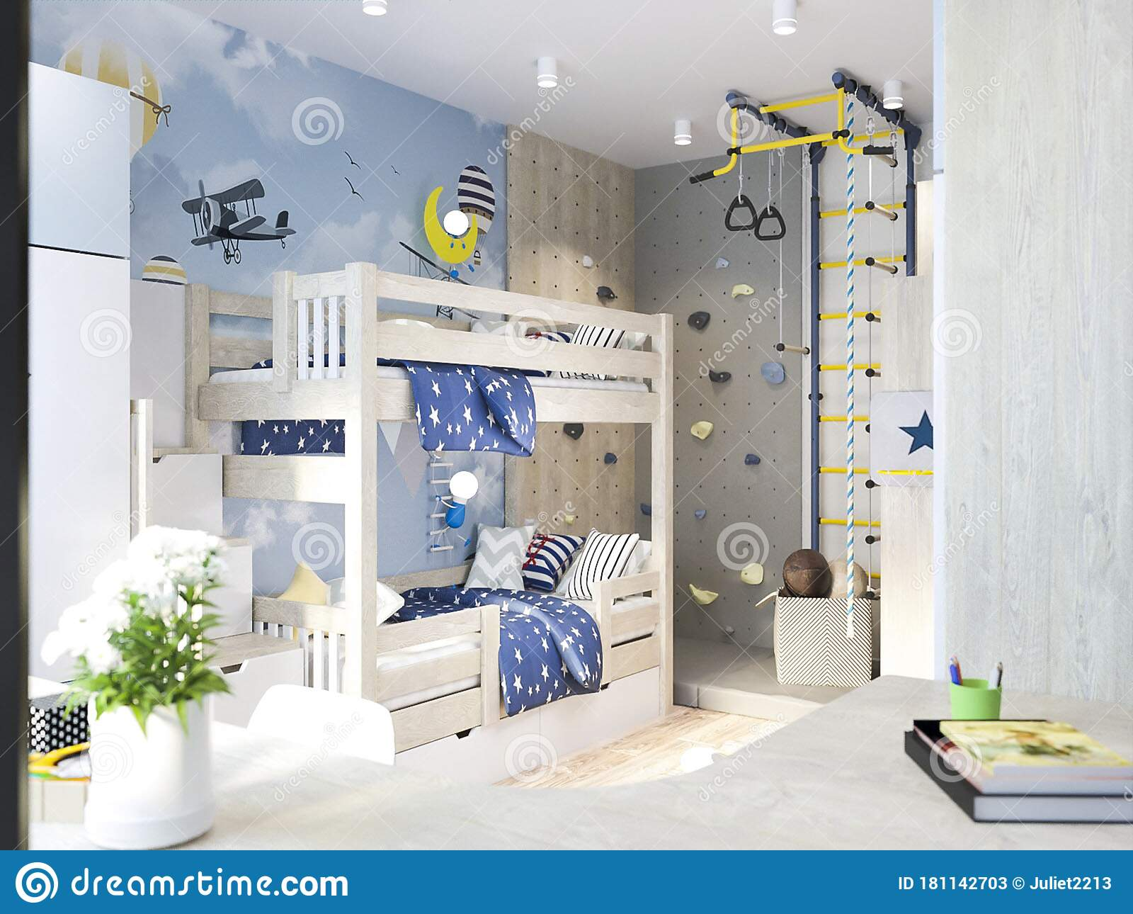 Children S Room For Litle Boys Interior Stock Image Image Of Interior Wall 181142703