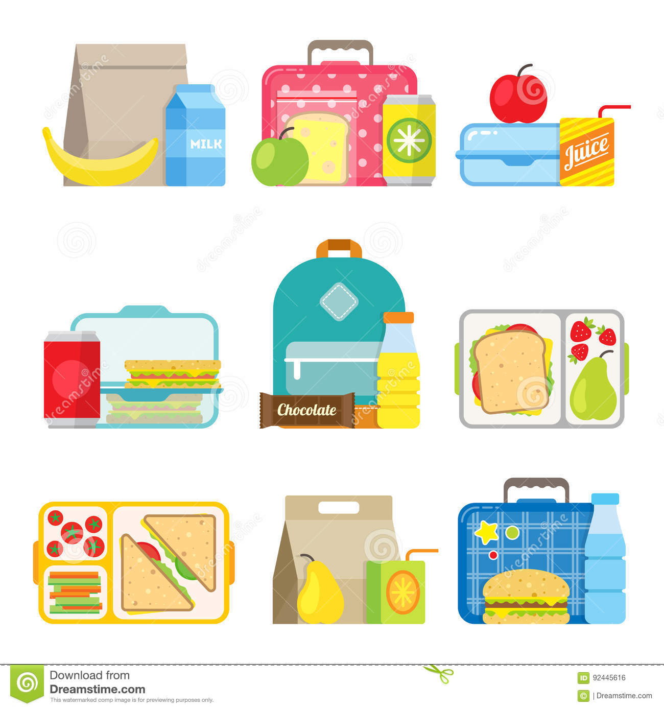 Children`s School Lunch Box Icon In Flat Style Stock ...