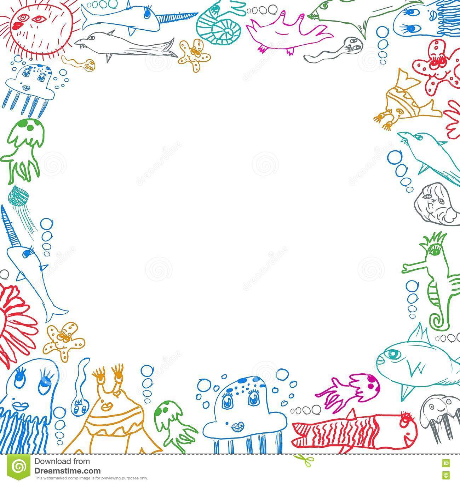children u0027s sea creatures square frame background stock