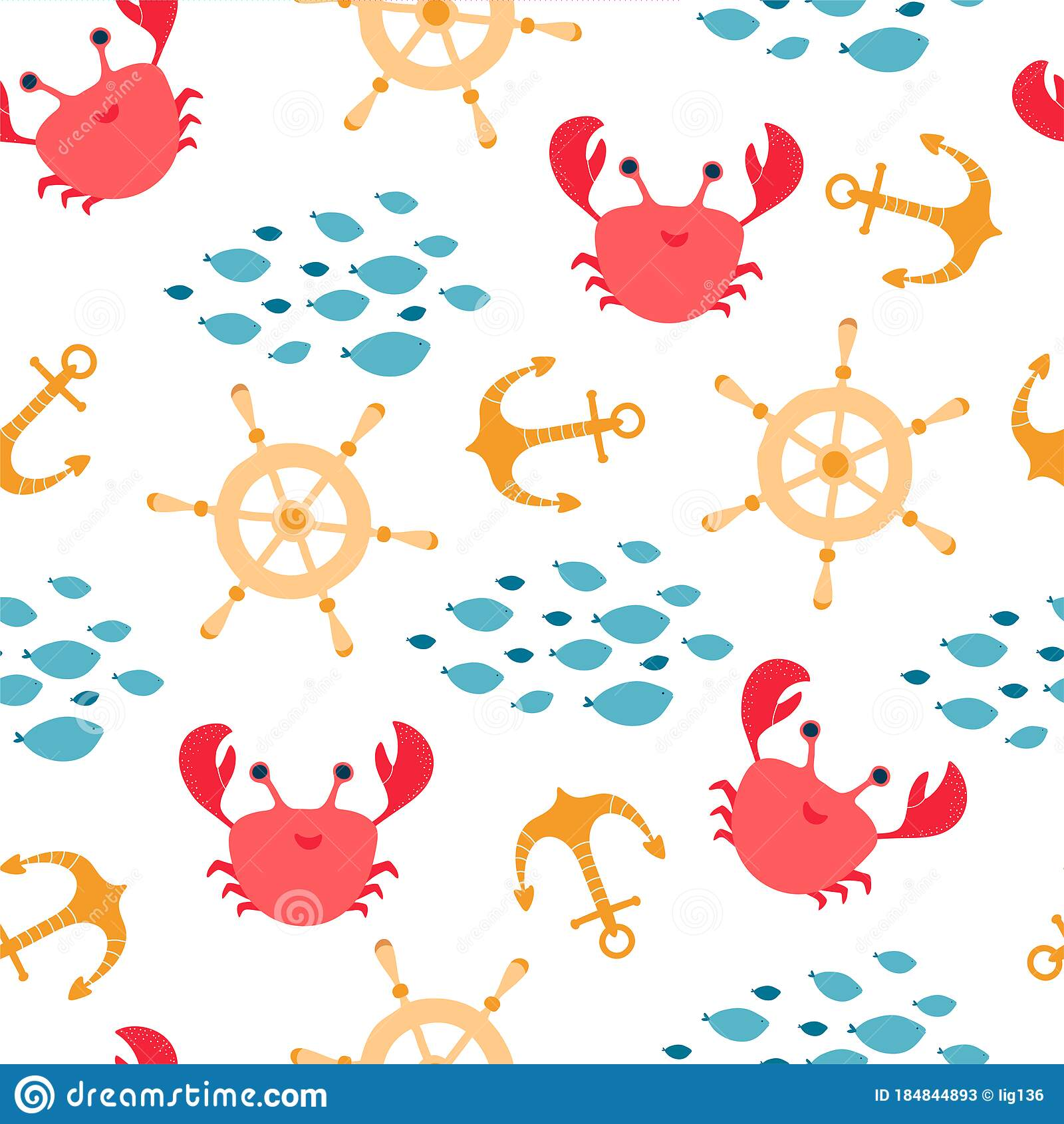 Children S Seamless Pattern With Crab Fish Helm Anchor In Cartoon Style Texture For Kids Room Design Wallpaper Stock Vector Illustration Of Captain Child 184844893