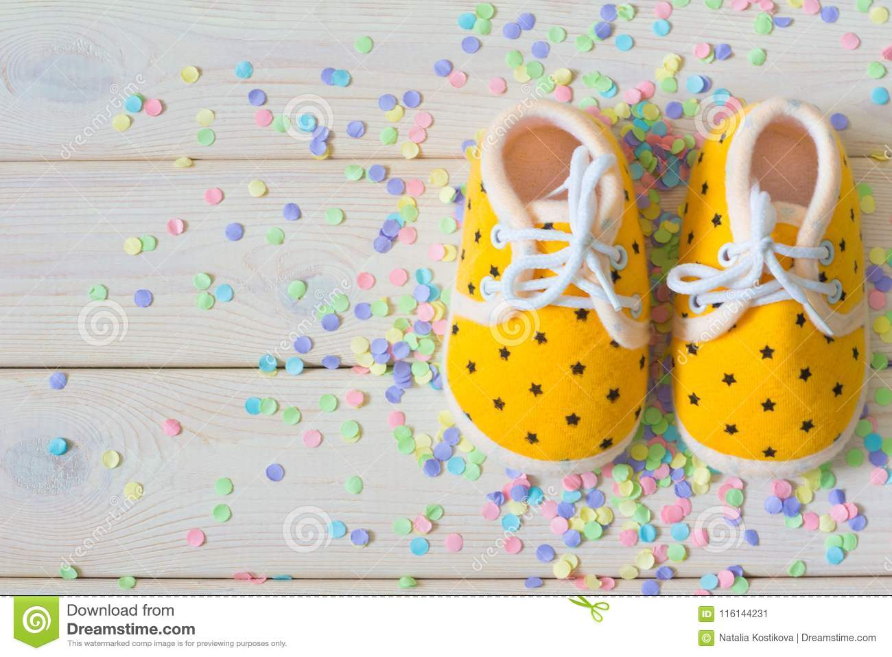 Children S Shoes For A Newborn Girl Yellow Background Light Wh