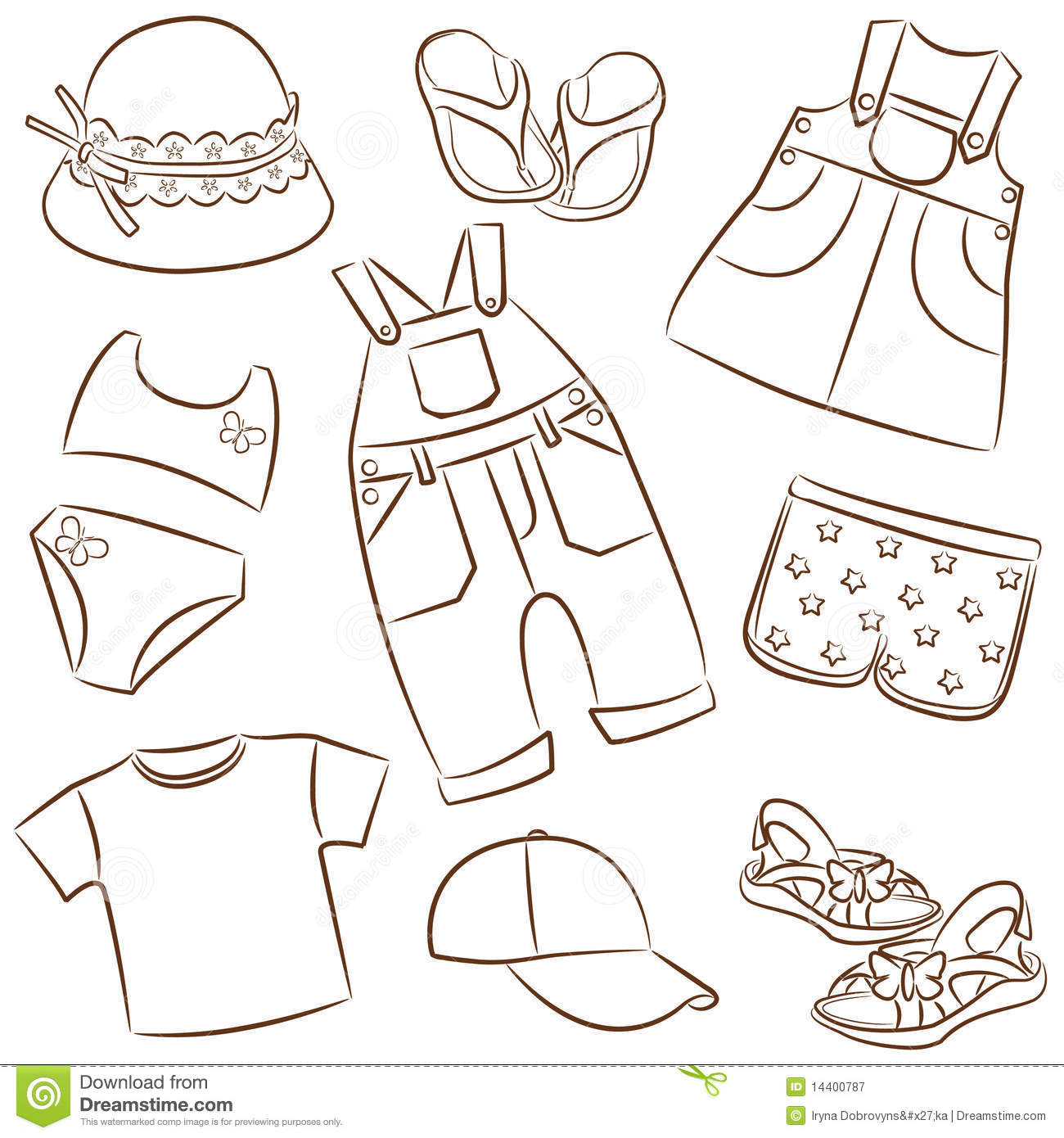 Children s summer clothes stock vector. Illustration of ...