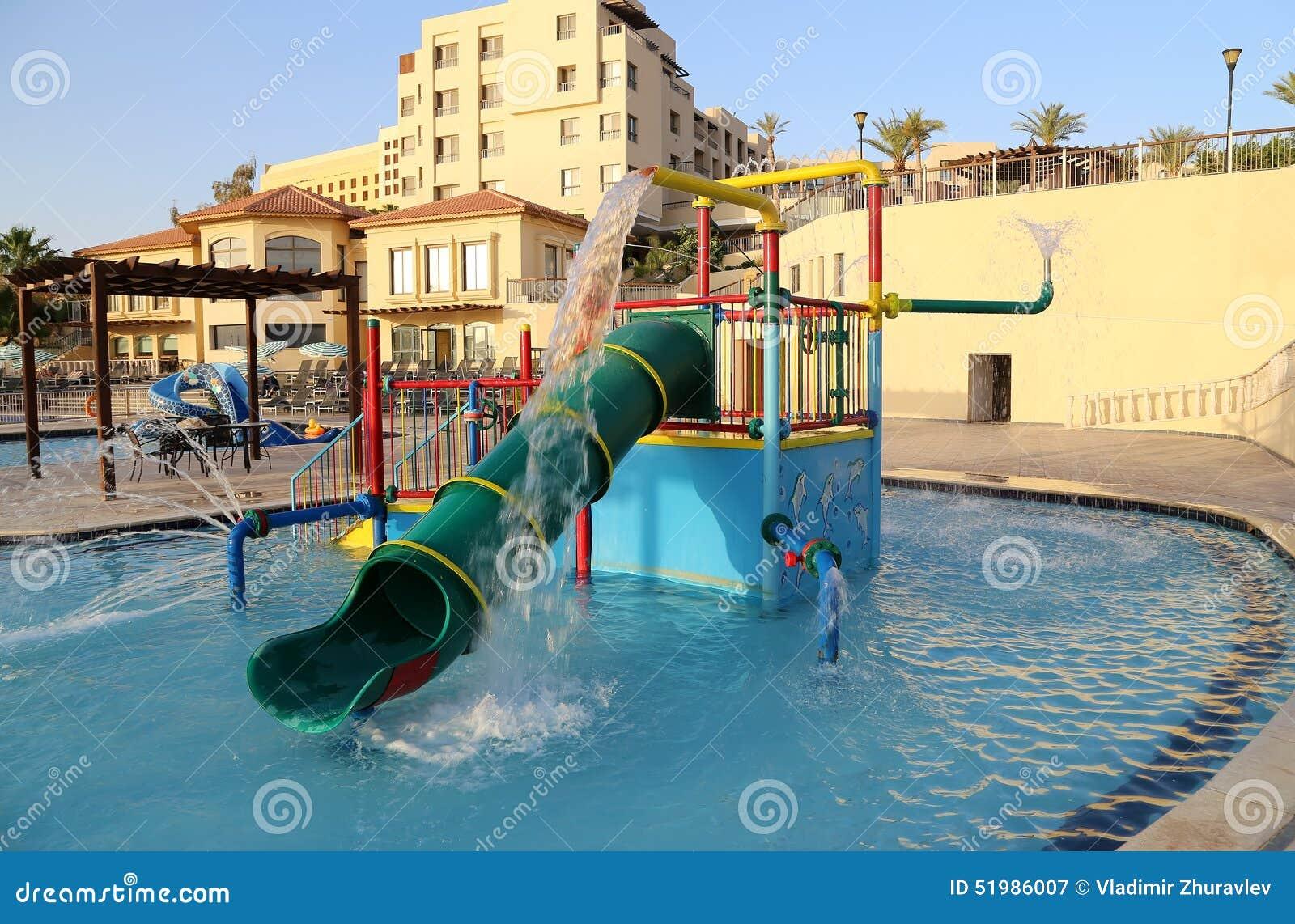 Children 39 S Swimming Pool With Slides For Entertainment Resort On The Dead Sea Jordan Stock