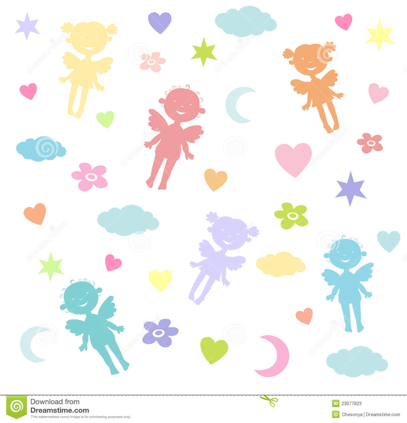 Children S Wallpaper With Angels Stock Photos Image