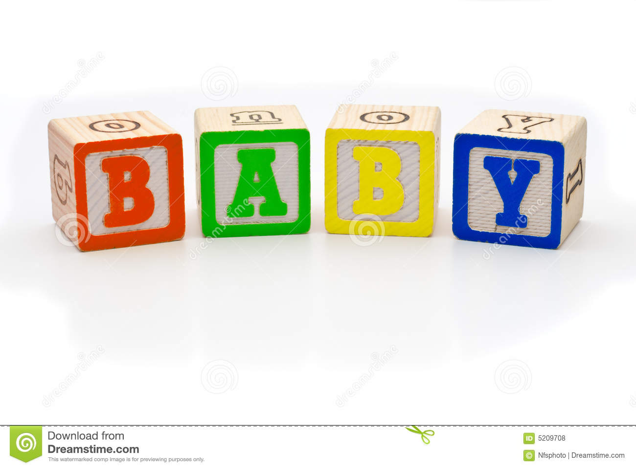 Children S Wood Blocks Spelling The Word Baby Over Royalty