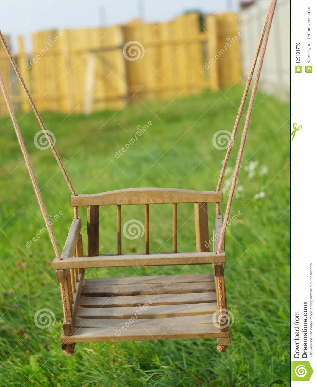 Children S Wooden Rope Swing Stock Photo Image Of Close Seat