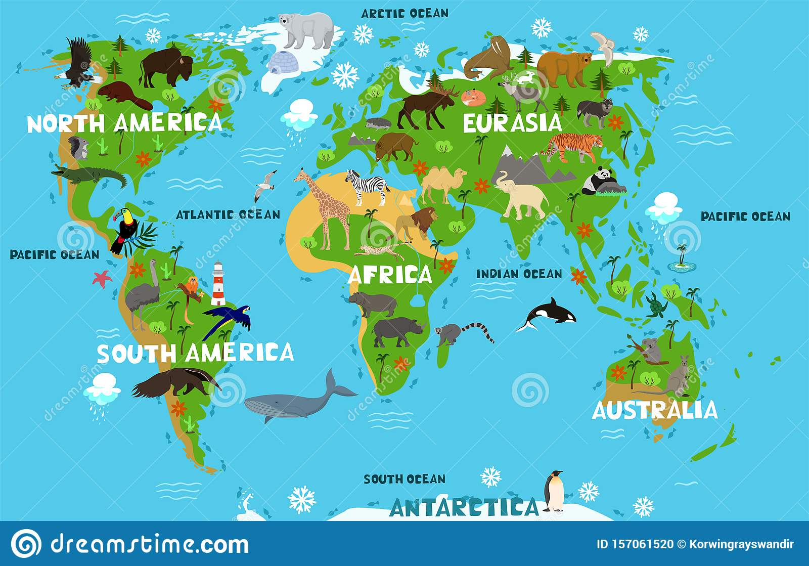 Picture of: Children S World Map With The Names Of Continents And Oceans Animals On The Mainland Vector Graphics Stock Photo Image Of Nature Continent 157061520