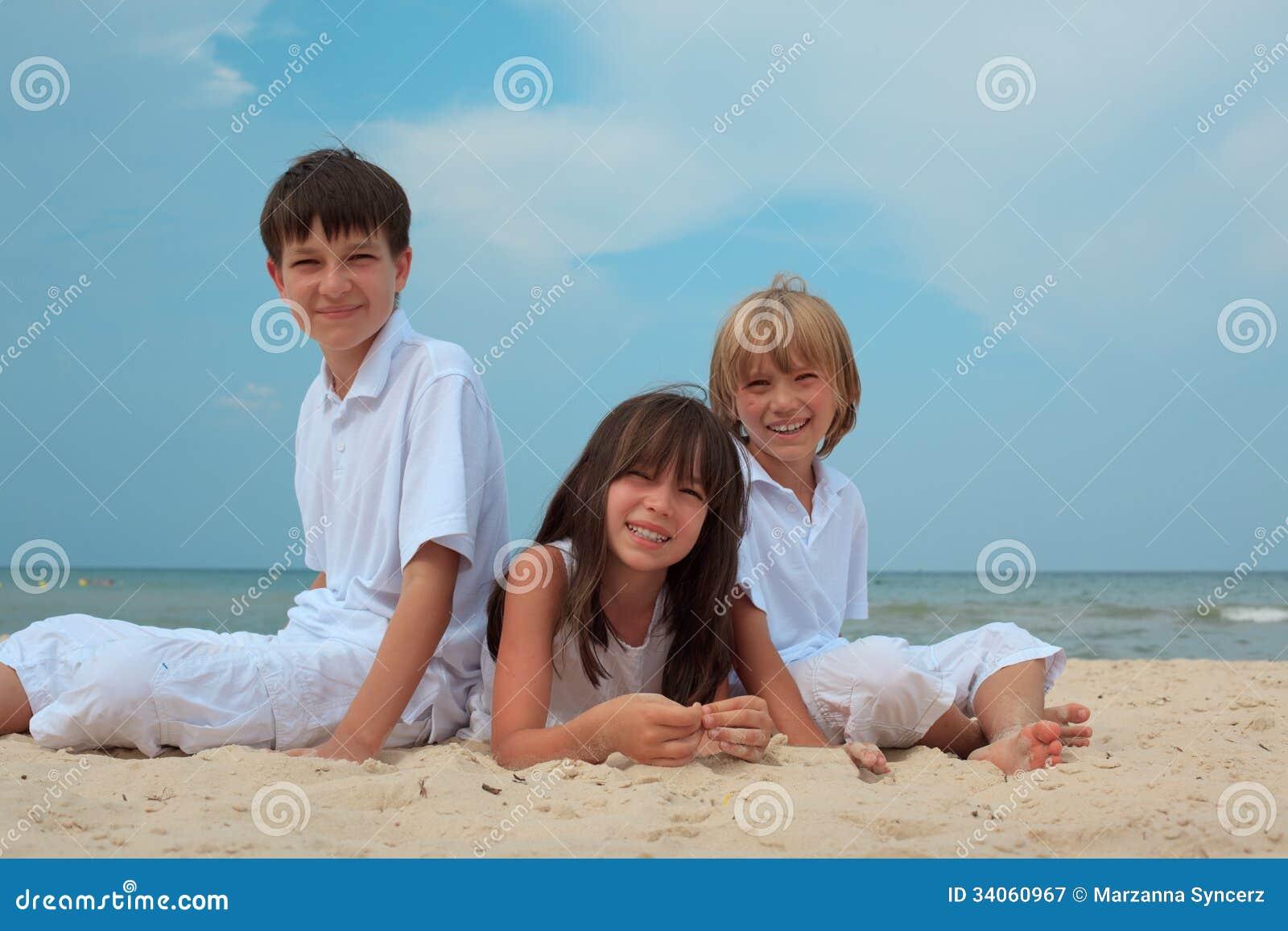 Children on sandy beach