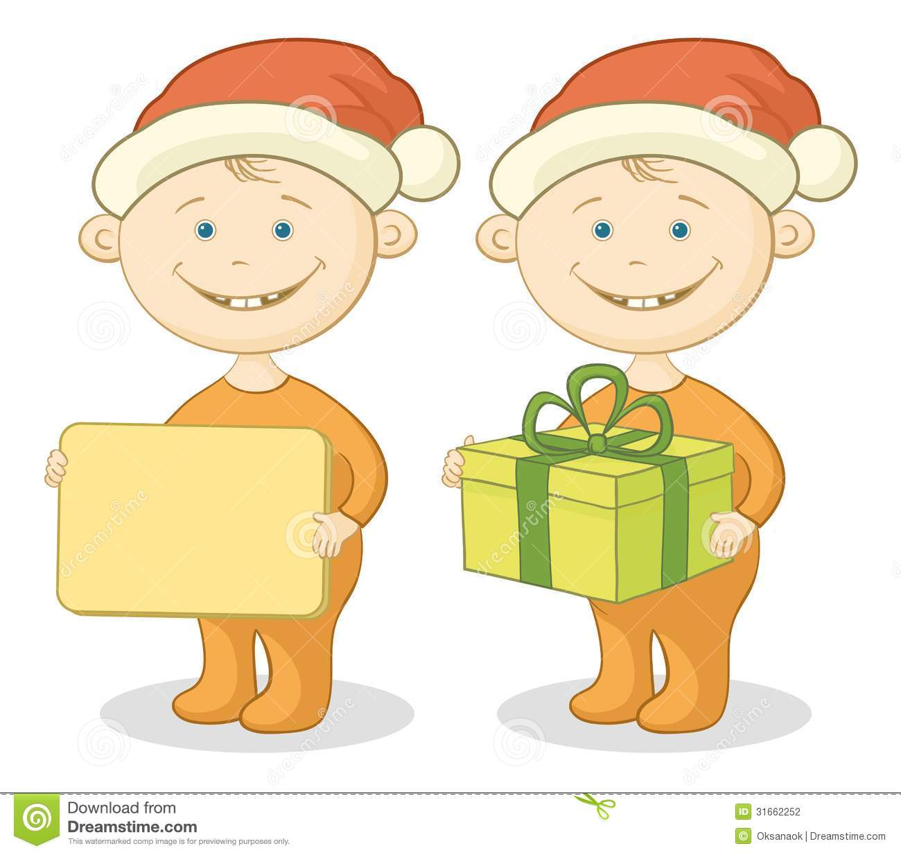 Cartoon children in a santa claus hats with a holiday gift box and