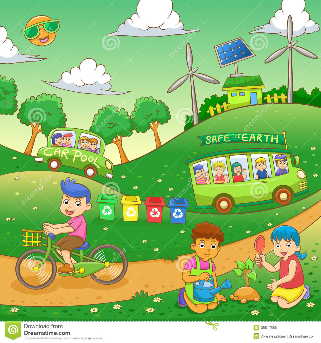 Children Save Our Green World Stock Vector Illustration Of Cartoon