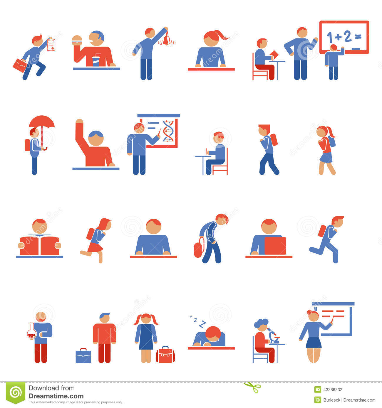 Children In School Flat Icons Stock Photo - Image: 43386332