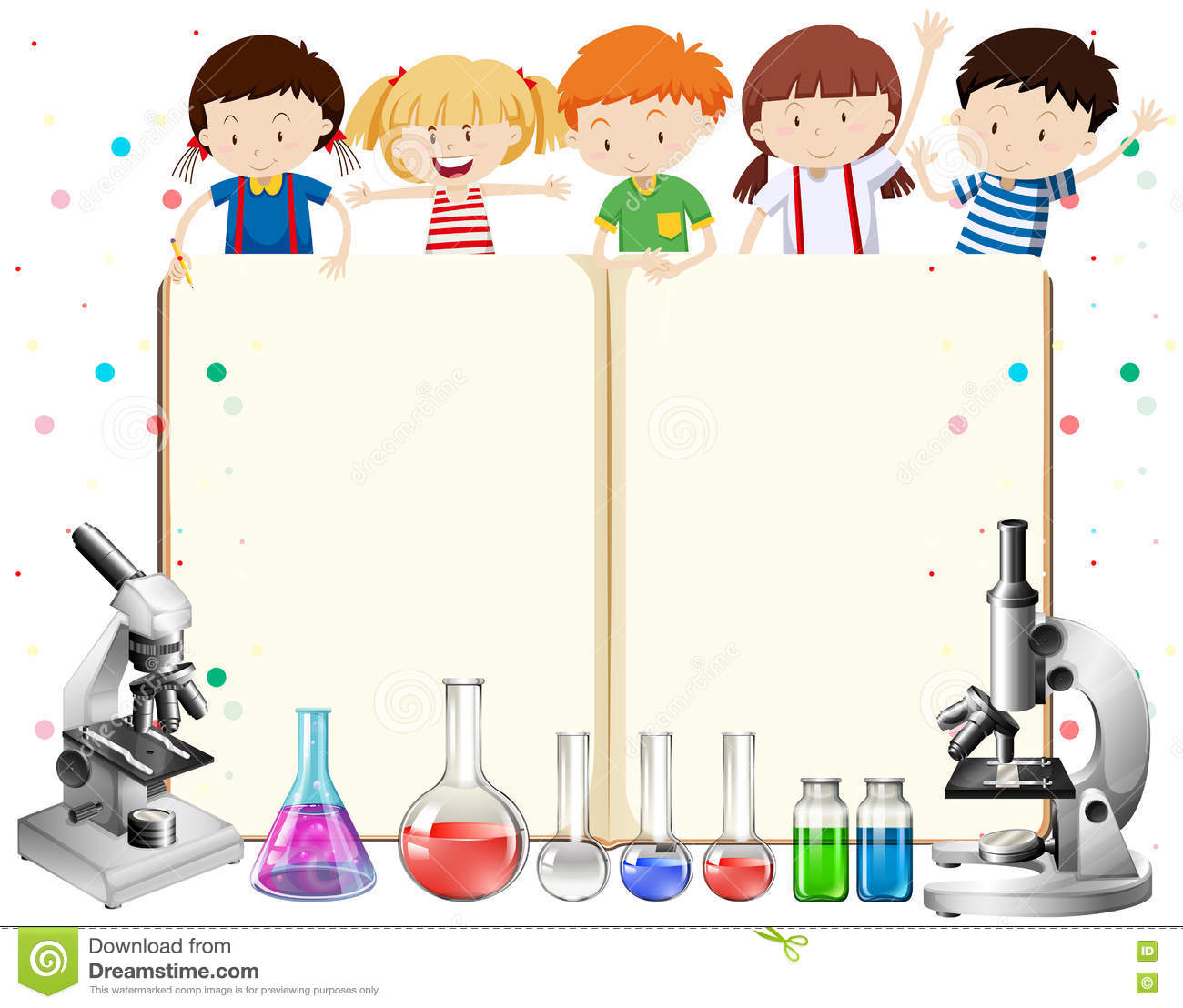Science Design Project: Children And Science Equipments Stock Vector