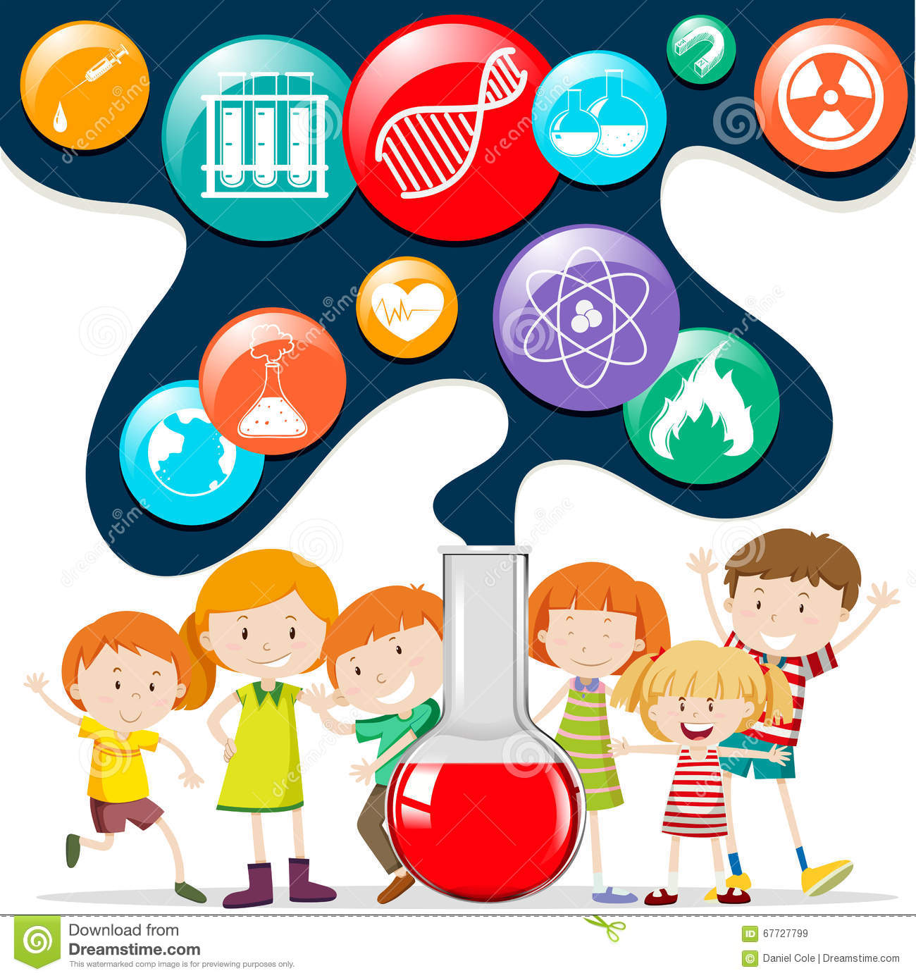 Children And Science Symbols Stock Vector - Image: 67727799