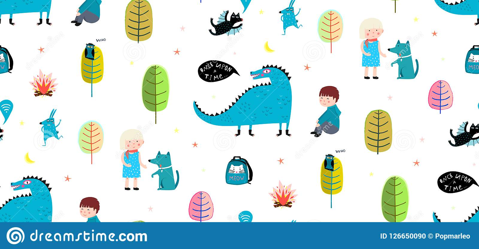 Children Seamless Pattern Print Dragon And Kids Stock Vector ...