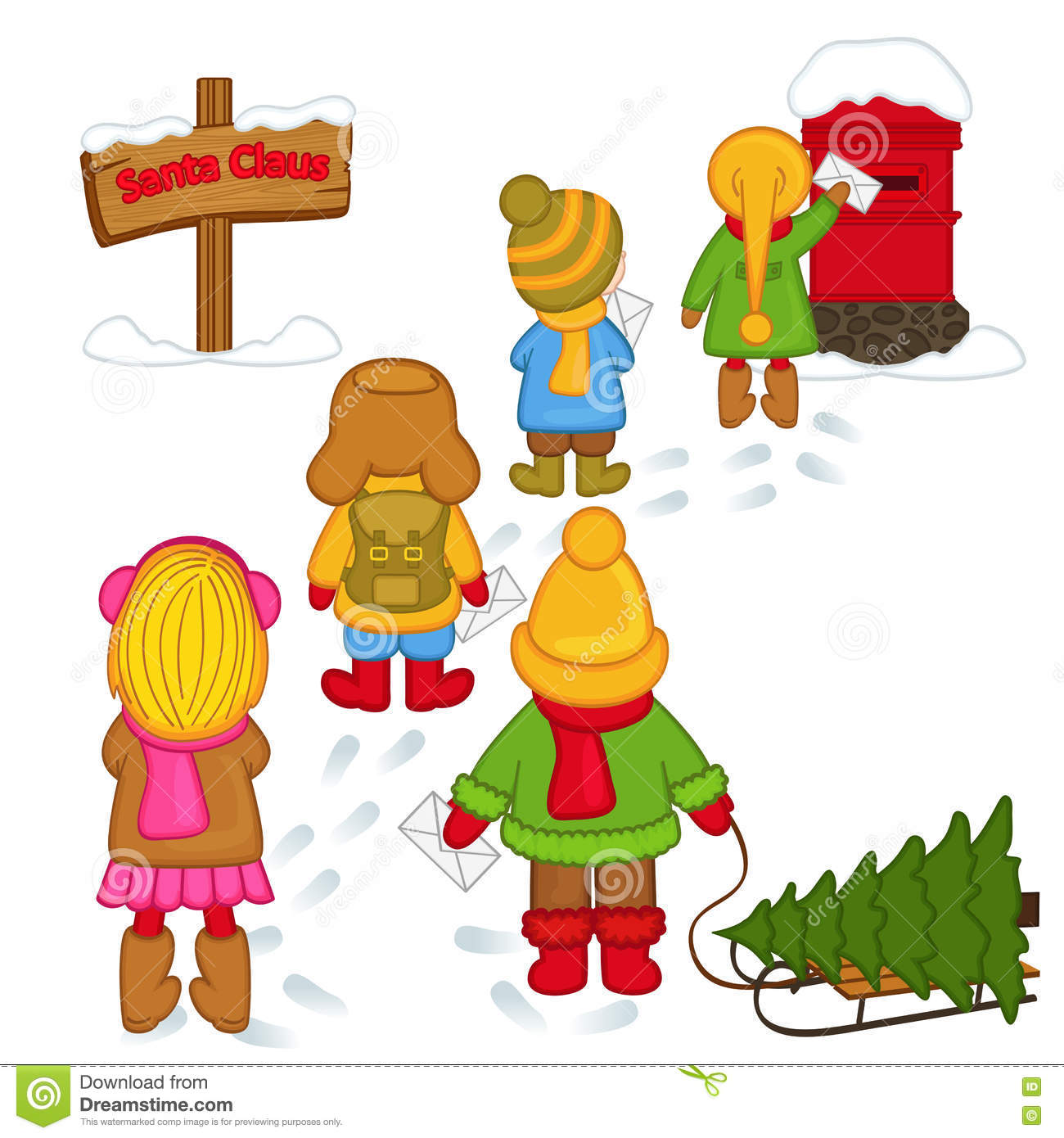 Children Send Letters To Santa Claus Stock Vector  Illustration Of