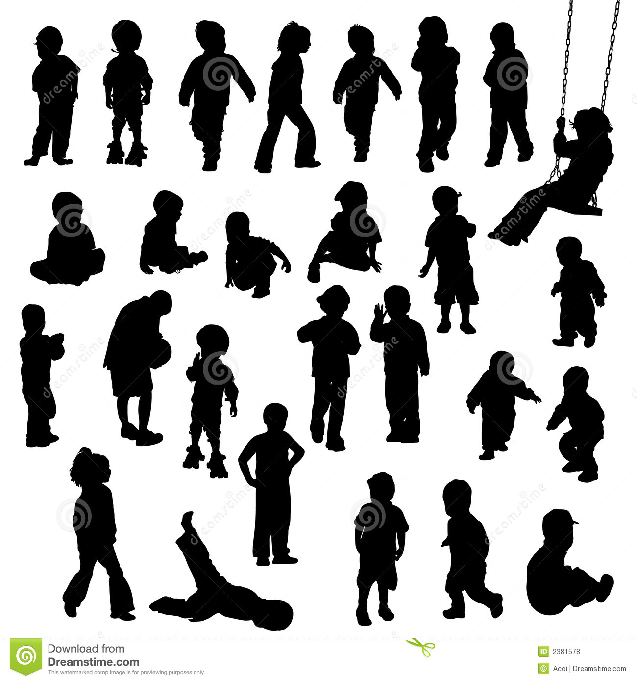 Children Silhouettes Stock Vector Illustration Of Crowd