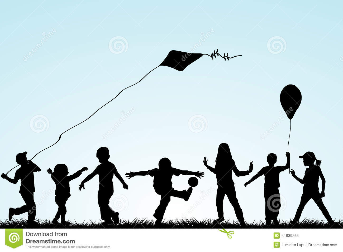 Children Silhouettes Playing In The Park Stock Vector - Image ...