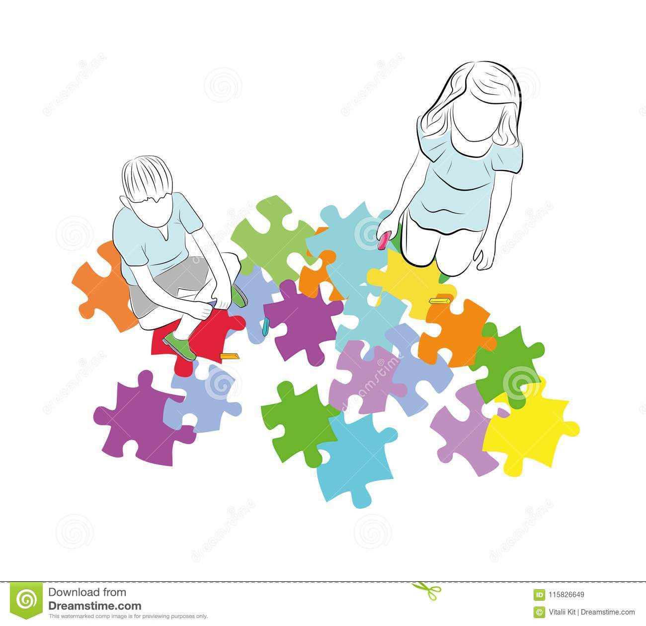 Children Are Sitting Above The Puzzles With The Symbol Of Autism