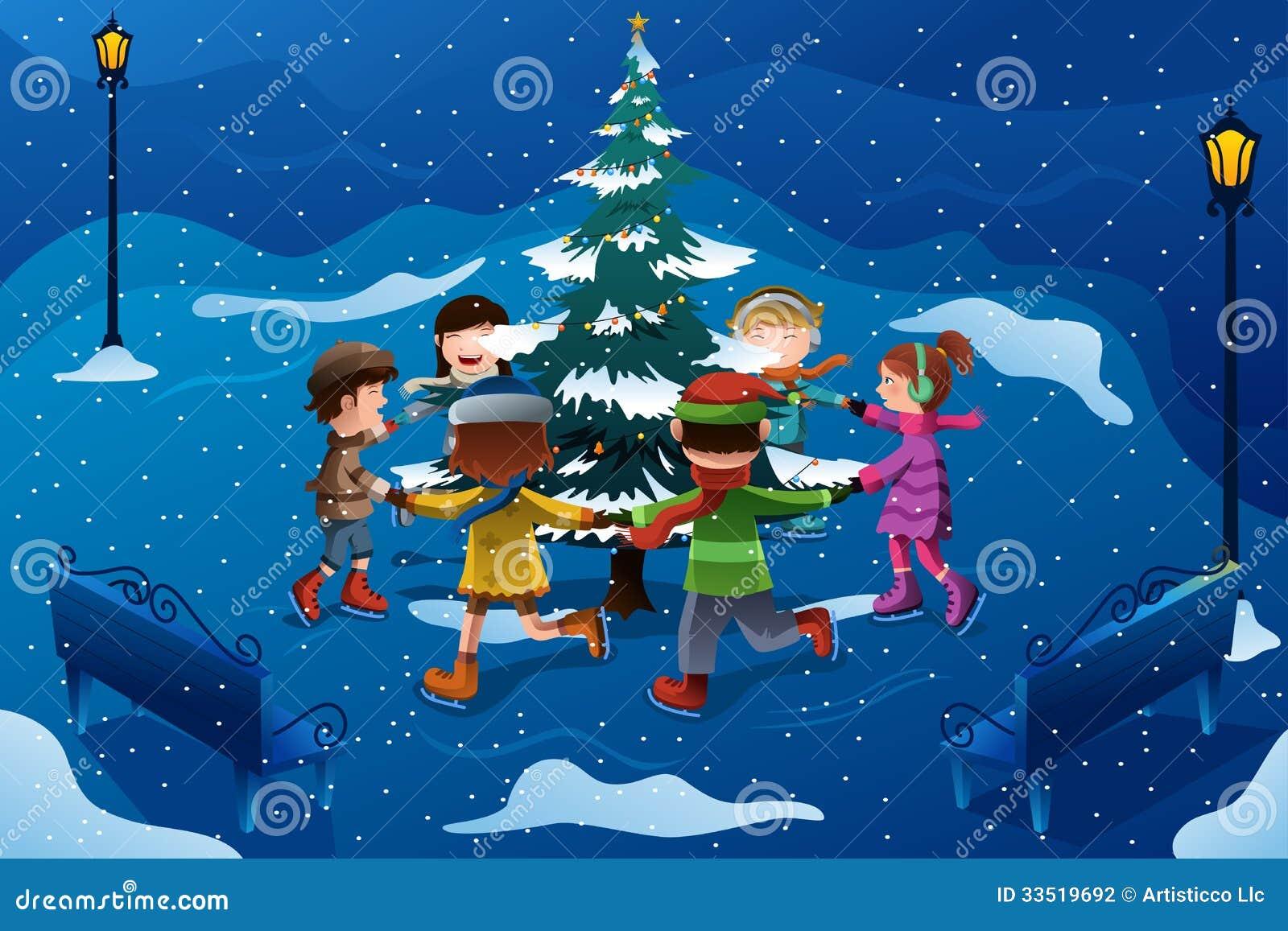 children skating around a christmas tree stock vector