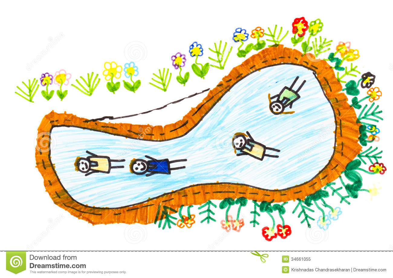 Children sketch royalty free stock photo image 34661055 for Swimming pool sketch