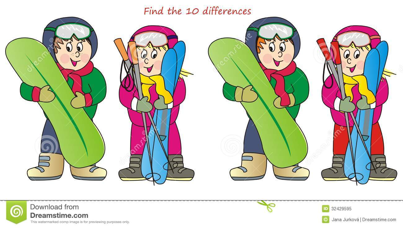 Find ten differences in the figures girl with skis and boy with