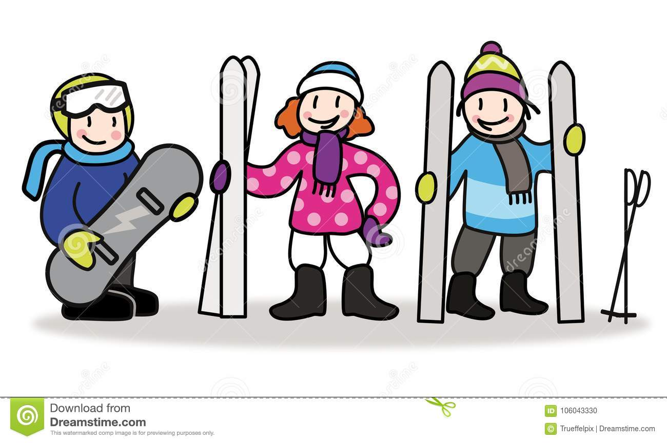 Children with skier and snowboard. Skiing and snowboarding illus
