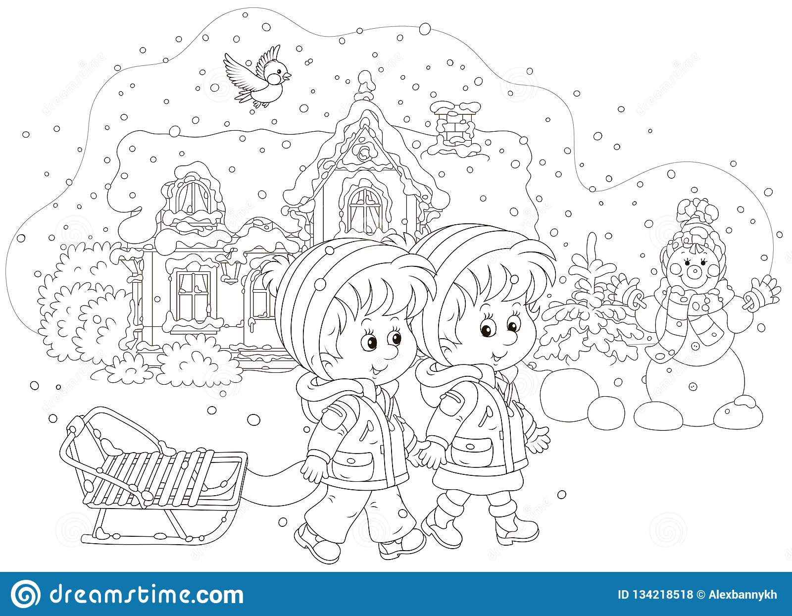 Children With A Sled On A Snowy Winter Day Stock Vector